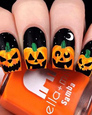 Paznokcie na halloween dynia