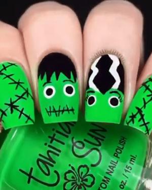 Paznokcie na halloween Frankenstein