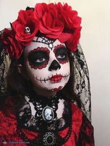Makijaz na halloween dla dzieci sugar skull