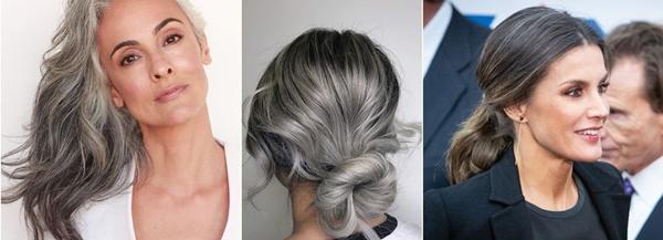 włosy trendy 2019 - szary