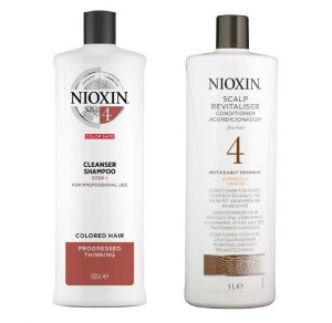 Nioxin System 4 | Zestaw przeciw wypadaniu do włosów farbowanych i znacznie przerzedzonych: szampon 1000ml + odżywka 1000ml