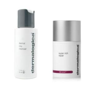 Dermalogica Dermal Clay Cleanser and Super Rich Repair | Zestaw do skóry suchej: oczyszczający preparat 50ml + krem odżywczy 50g