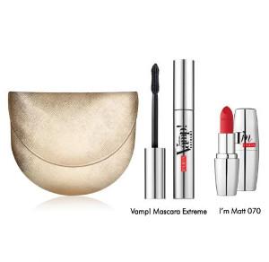 Pupa Vamp! Mascara Extreme | Zestaw do makijażu: tusz do rzęs 9ml + matowa szminka + torebka