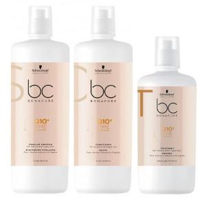 Schwarzkopf BC Q10 Time Restore | Zestaw odbudowujący do włosów dojrzałych: szampon 1000ml + odżywka 1000ml + maska 750ml