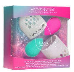 Beauty Blender All That Glitters | Zestaw do makijażu: różowa gąbka do makijażu + zielona gąbka do makijażu + brokatowy pojemnik do przechowywania gąbeczek + mydełko do mycia gąbki