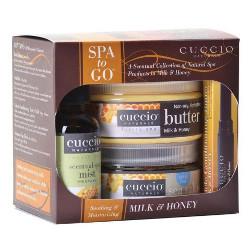 Cuccio SPA to Go | Zestaw pielęgnacyjny - mleko i miód (masło do ciała 240g + sól morska 240g + sztyft do skórek paznokci 1,6g + eliksir aromatyczny 60ml)