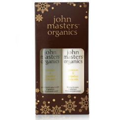 John Masters Organics Geranium and Grapefruit | Zestaw do pielęgnacji ciała: żel pod prysznic 236ml + mleczko do ciała 236ml