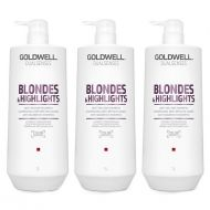DualSenses Blondes and Highlights | Zestaw: szampon do włosów blond 3x1000ml