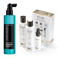 Total Results High Amplify Wonder Boost Root Lifter and System 3 | Pakiet do zagęszczenia włosów: Płyn odbijający włosy u nasady 250ml + Zestaw do włosów przerzedzonych i cieńkich.