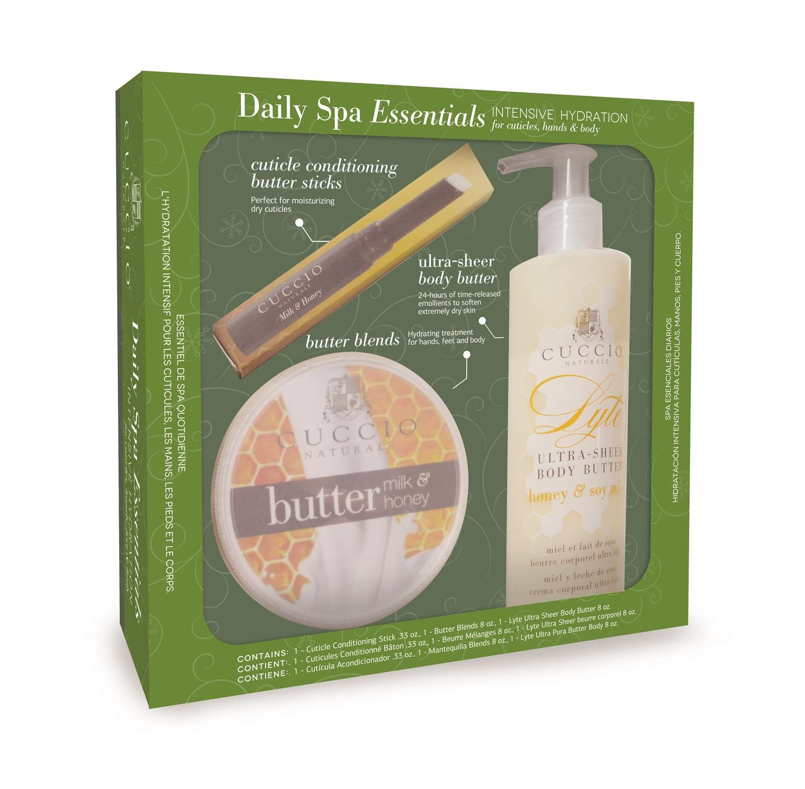 Cuccio Daily SPA Essentials Intensive Hydration For Cuticles, Hands & Body Honey and Milk (#3306)