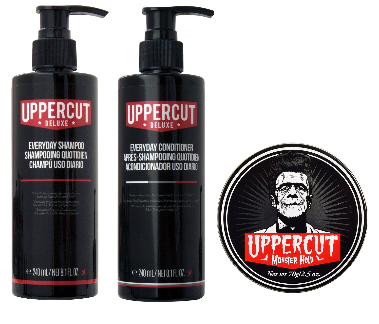 Uppercut Deluxe Everyday Shampoo 240ml + Uppercut Deluxe Everyday Conditioner 240ml + Monster Hold 70g